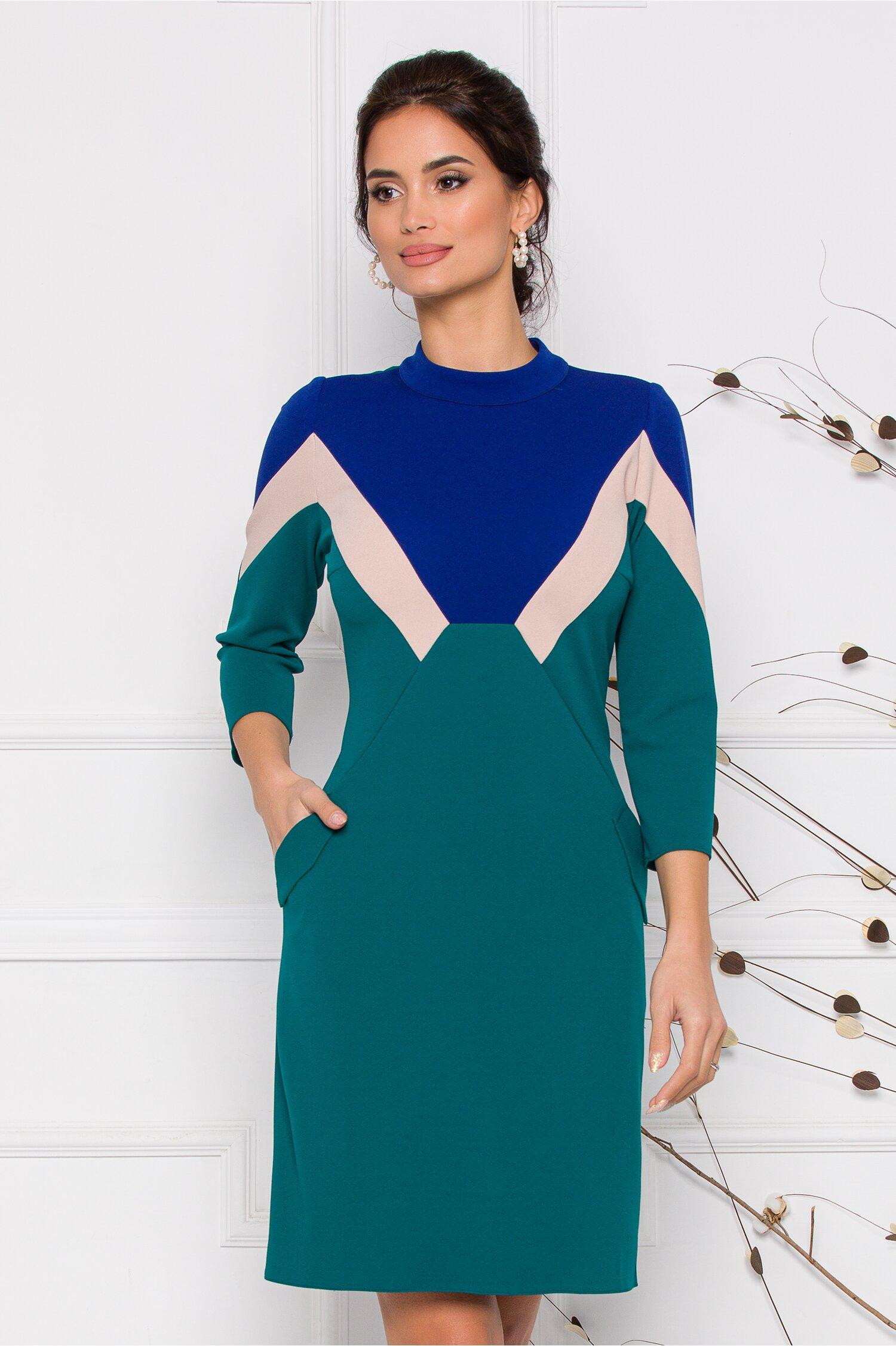 Rochie Moze verde cu insertii de albastru si bej imagine