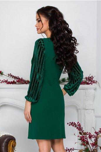 Rochie Moze verde cu maneci cu dungi catifelate