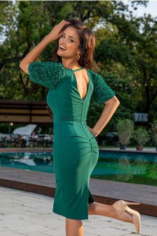 Rochie Moze verde cu maneci din franjuri si fir lurex