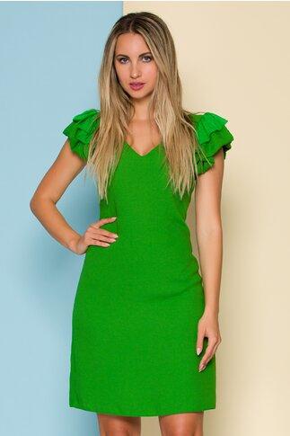 Rochie Moze verde cu maneci din volane maxi