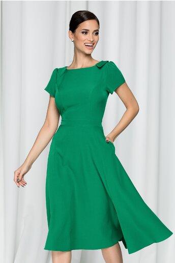 Rochie Moze verde cu maneci scurte si guler tip colier