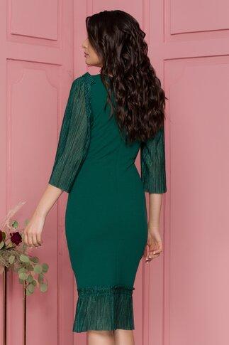 Rochie Moze verde cu maneci si baza din voal plisat