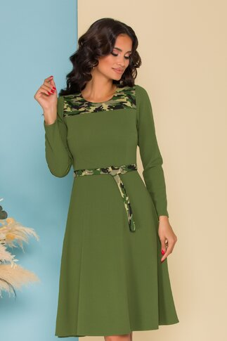 Rochie Moze verde cu motive army