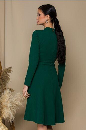 Rochie Moze verde cu nasturi la bust si pliuri la guler