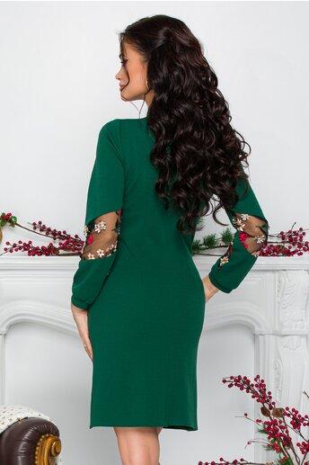 Rochie Moze verde cu volane la bust si broderie florala la maneci