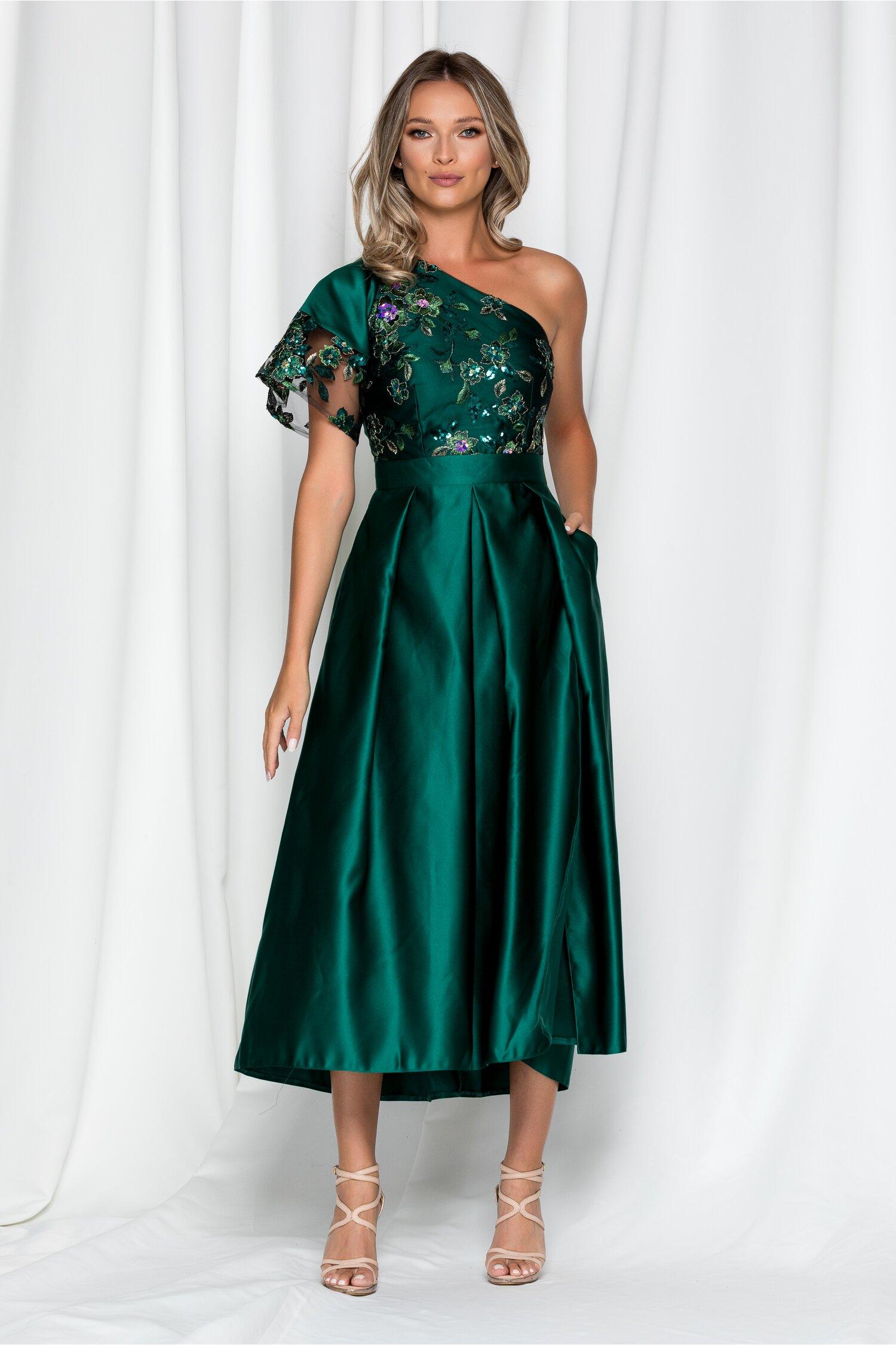 Rochie Moze verde din tafta cu broderie florala paietata la bust