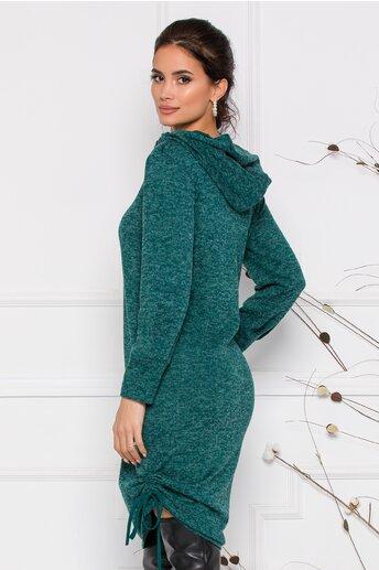 Rochie Moze verde din tricot cu gluga si buzunare