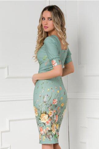 Rochie Moze verde pal cu flori colorate
