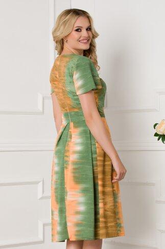 Rochie Moze verde si portocaliu in pliuri