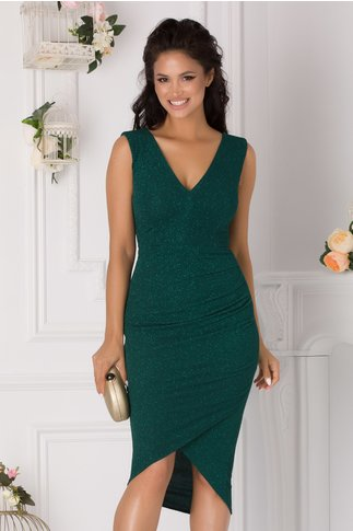 Rochie Moze verde smarald cu glitter