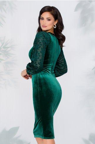 Rochie Moze verde smarald din catifea cu maneci bufante
