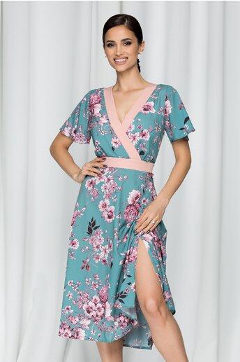 Rochie Moze vernil cu imprimeu floral roz pudra si decolteu petrecut