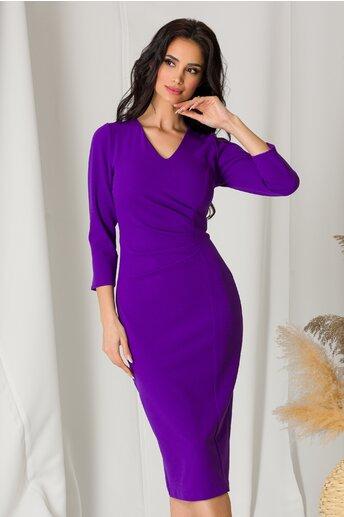 Rochie Moze violet cu fronseu in talie
