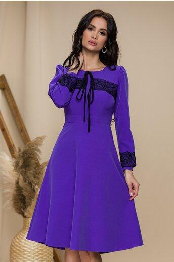 Rochie Moze violet cu insertii din dantela delicata