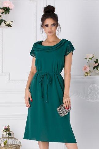 Rochie Muse verde cu maneci din dantela si cordon in talie