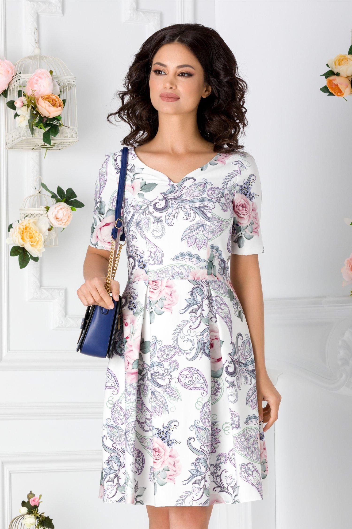 Rochie Myra alba cu imprimeu floral pastelat