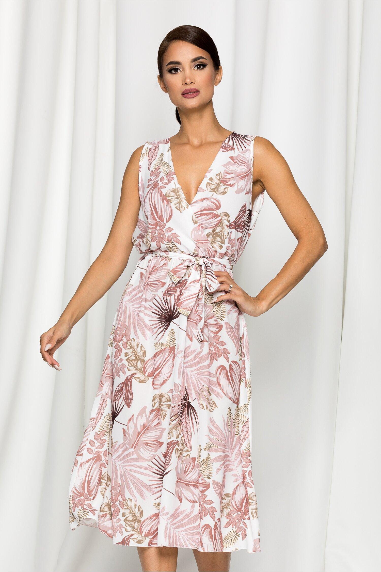 Rochie Nadine alba cu imprimeu exotic roz prafuit