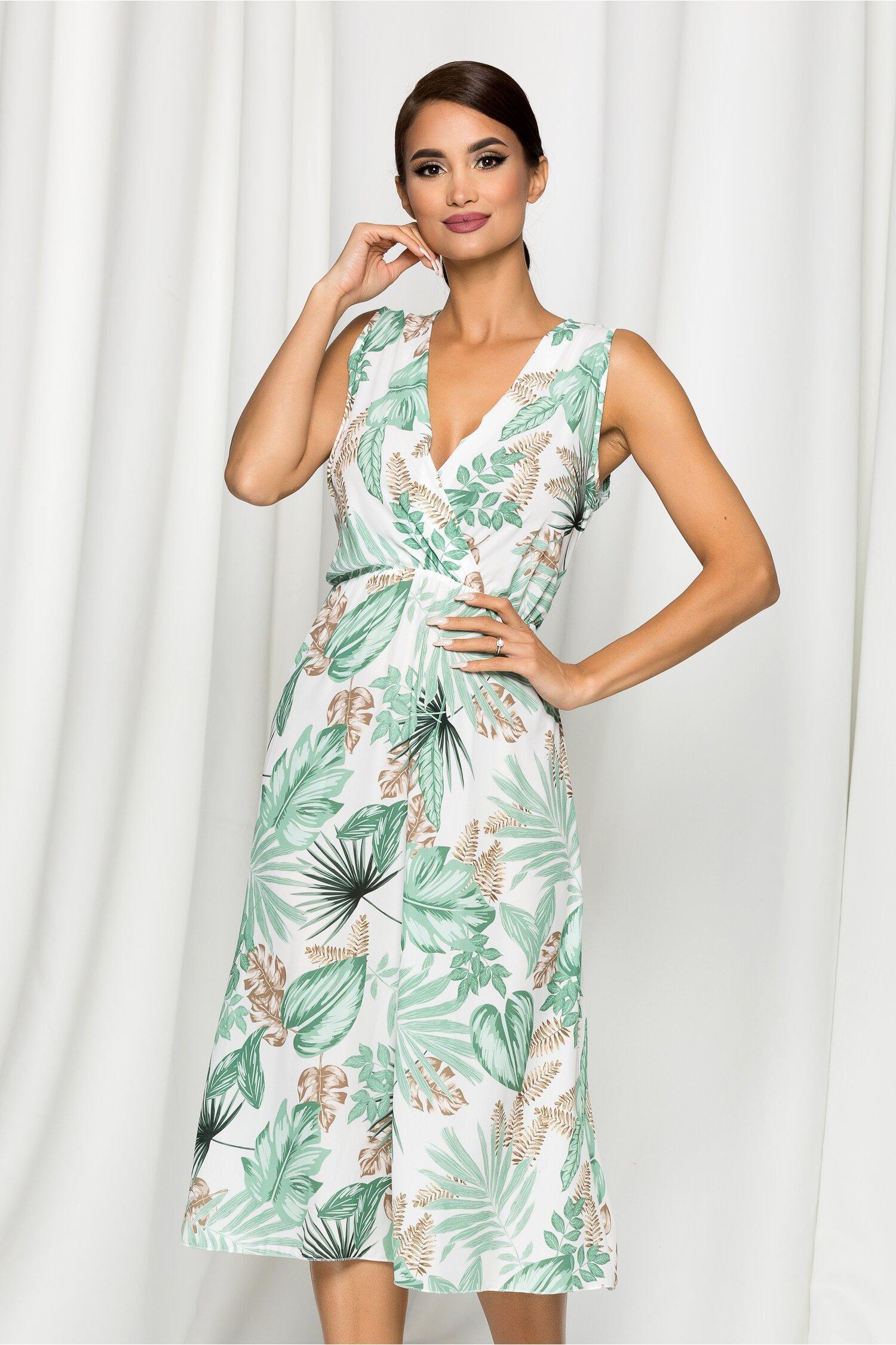 Rochie Nadine alba cu imprimeu exotic verde
