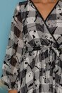 Rochie Naoki alba cu carouri si detalii catifelate