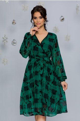 Rochie Naoki verde cu carouri si detalii catifelate