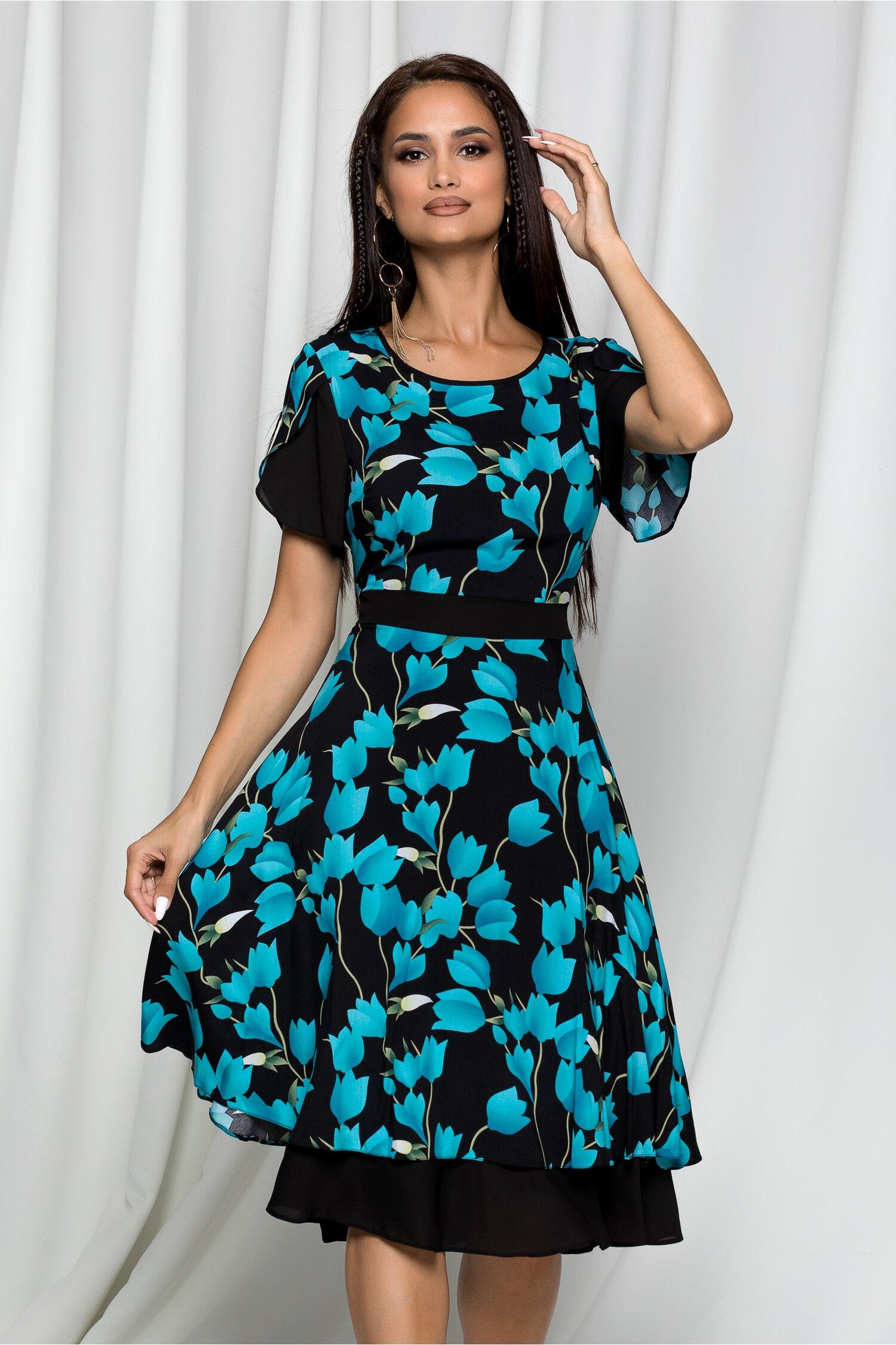 Rochie Narcisa neagra cu imprimeu floral albastru si talie marcata