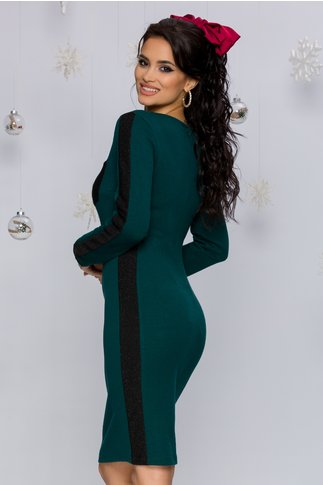 Rochie Nastya verde inchis cu benzi decorative negre si insertii din fir lurex