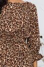 Rochie Natalia beige cu animal print maro