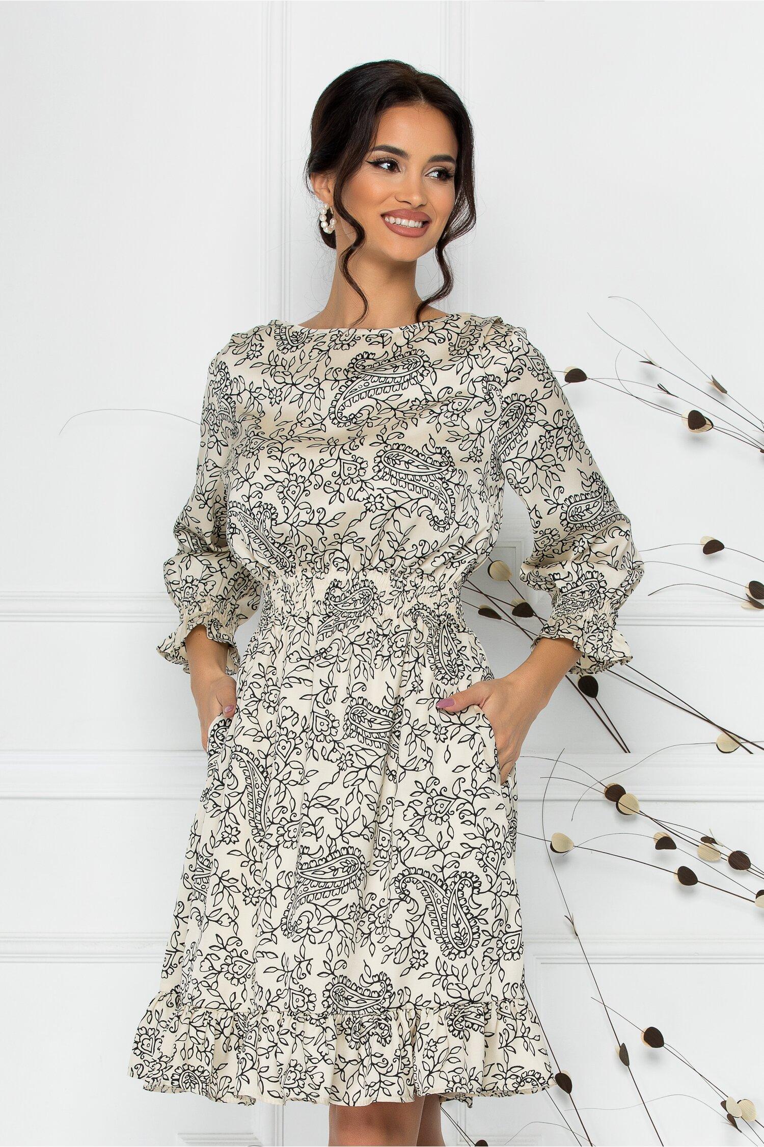 Rochie Natalia ivoire cu imprimeu divers