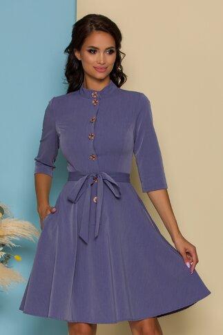 Rochie Naty bleu cu cordon in talie si inchidere cu nasturi