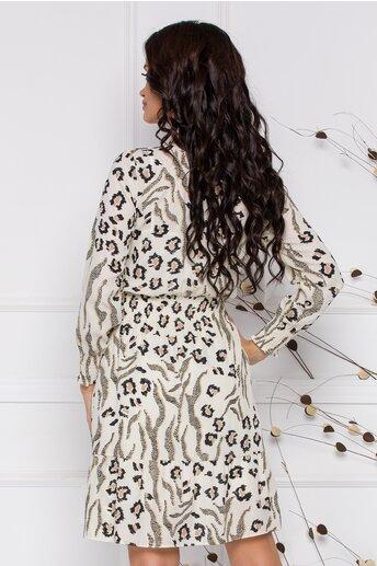 Rochie Naty din voal ivory cu animal print