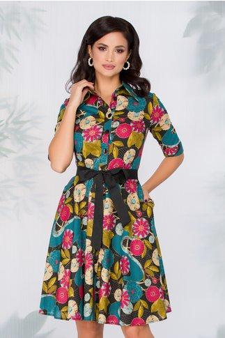 Rochie Naty neagra cu imprimeu floral in culori tomnatice