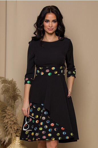 Rochie neagra cu buline multicolore si buzunare functionale
