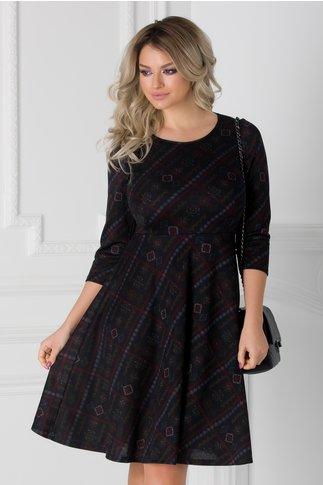 Rochie neagra cu imprimeu abstract si dungi