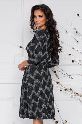 Rochie neagra cu imprimeu cu frunze gri
