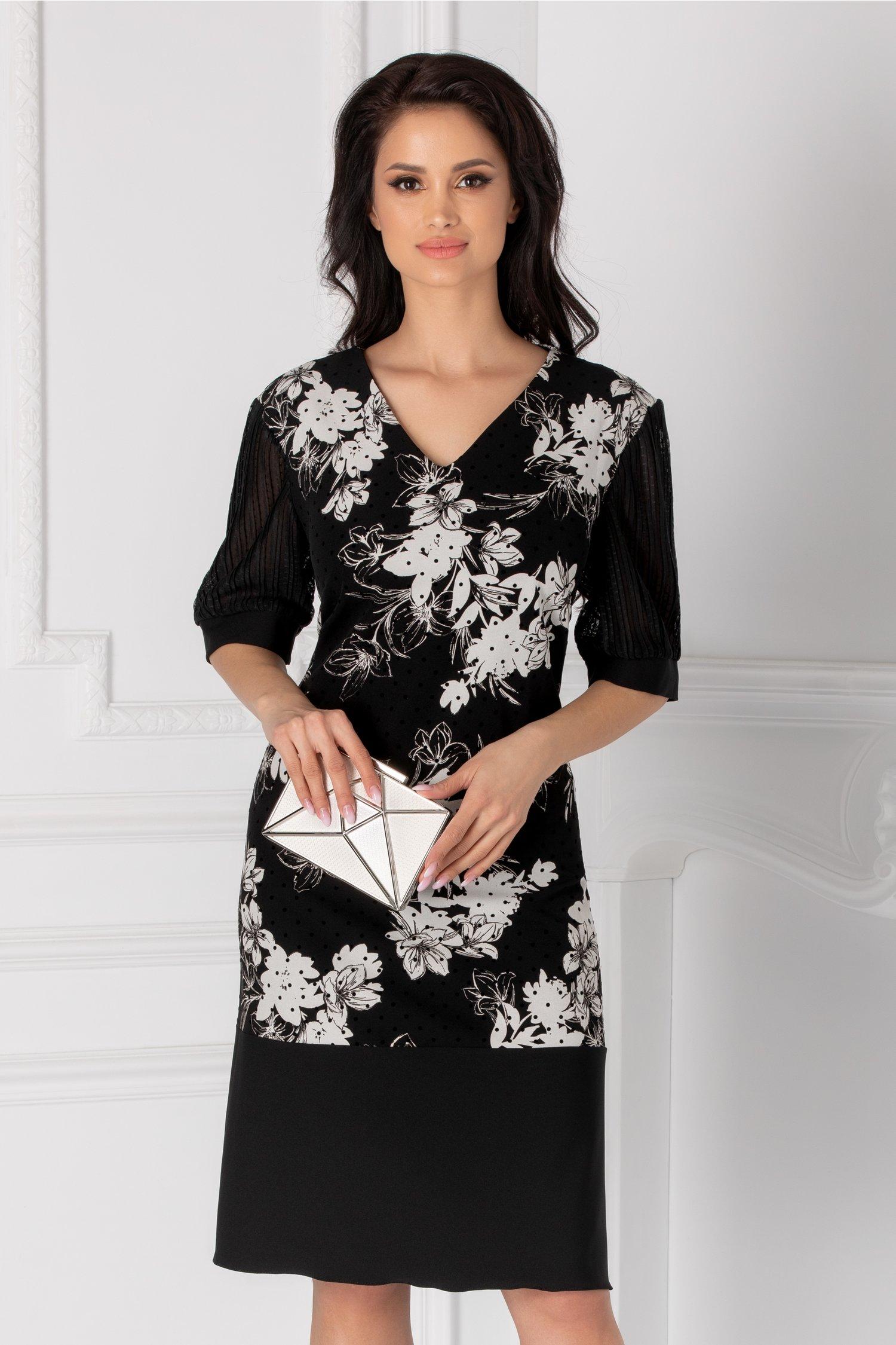 Rochie neagra cu imprimeu floral si maneci bufante din tull plisat
