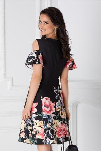 Rochie neagra cu imprimeu floral si maneci decupate