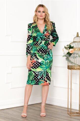 Rochie neagra cu imprimeu floral verde si curea in talie