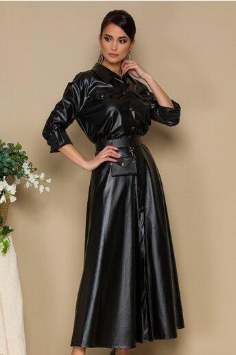 Rochie neagra din piele ecologica lunga inchisa in fata cu nasturi