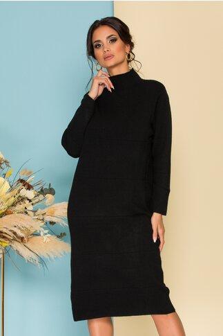 Rochie neagra din tricot cu guler pe gat