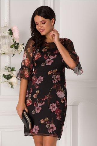 Rochie neagra Ginette cu imprimeu floral roz si maneci evazate la baza