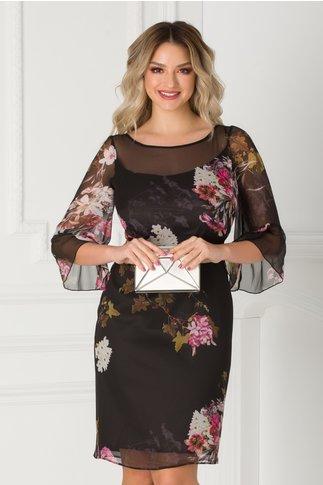 Rochie neagra Ginette cu imprimeu floral si maneci evazate la baza