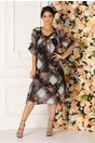 Rochie neagra Julia vaporoasa cu imprimeu floral