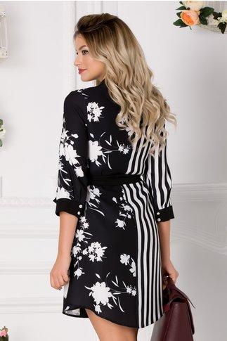 Rochie neagra tip camasa cu imprimeu floral si dungi