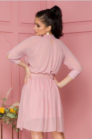 Rochie Nelba roz pal cu guler si decupaj la spate