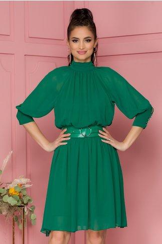Rochie Nelba verde cu guler si decupaj la spate