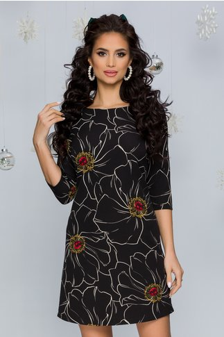 Rochie Nellie neagra cu imprimeu floral maxi