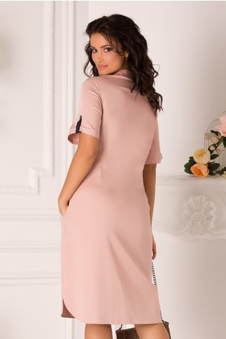 Rochie Nelly roz prafuit tip camasa