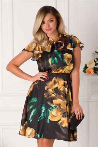 Rochie Nely neagra cu imprimeuri florale galbene