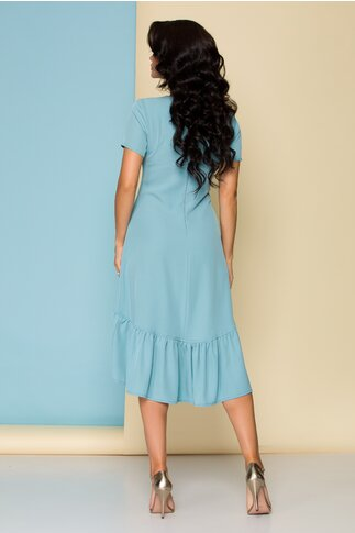 Rochie Nicki bleu asimetrica cu volane la baza