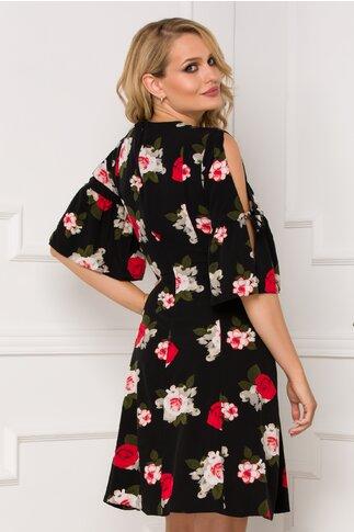 Rochie Nickky neagra cu imprimeuri florale